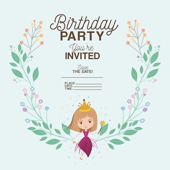 Princess with floral decoration invitation card