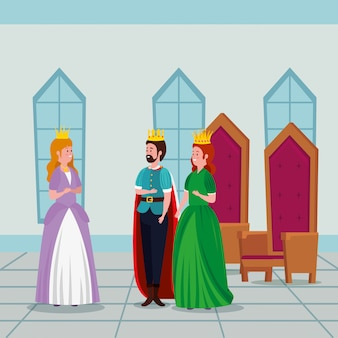 Princess with king and queen in castle
