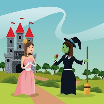 Princess with ugly witch giving apple castle and landscape
