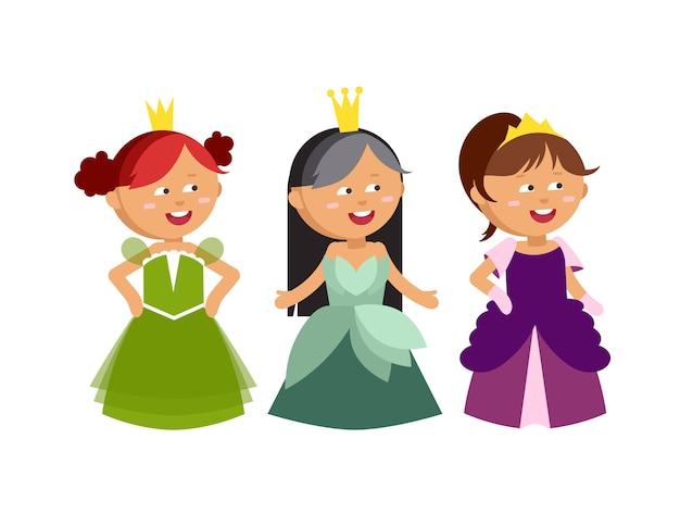 Набор принцесс. милый сборник красивых персонажей. маленькие сказочные девочки с коронами
