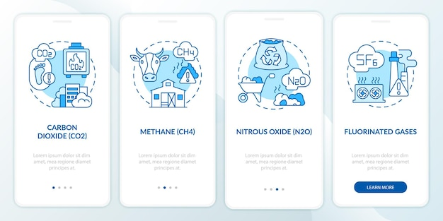 Principal greenhouse gases onboarding mobile app page screen with concepts