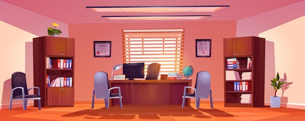 Главный школьный офисный интерьер, пустая комната со столом директора, компьютером, книгами и глобусом на столе, стульями для посетителей и книжными шкафами с папками, горшечными растениями. мультфильм векторные иллюстрации