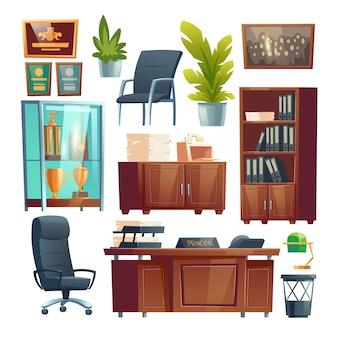 本校オフィスインテリア家具等のセット。ディレクターテーブル、プリンター付きデスク、椅子、ファイルフォルダー付き本棚、ガラススタンドのトロフィー、鉢植え。漫画イラスト