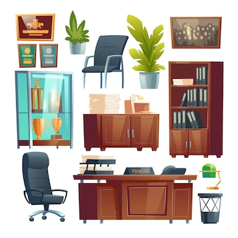 Principal school office interior furniture and stuff set. director table, desk with printer, chairs and bookcase with files folders, trophies in glass stand, potted plants. cartoon illustration
