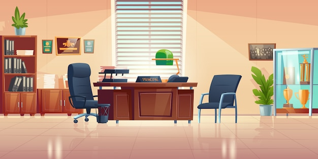 Principals office in school with desk, chairs, bookcase and showcase with sport trophies. cartoon empty interior of headmaster cabinet for meeting and talking with teachers, pupils and parents