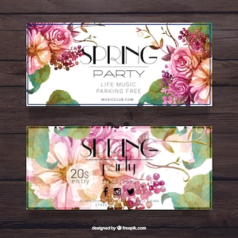 Pring party colorful banner Free Vector