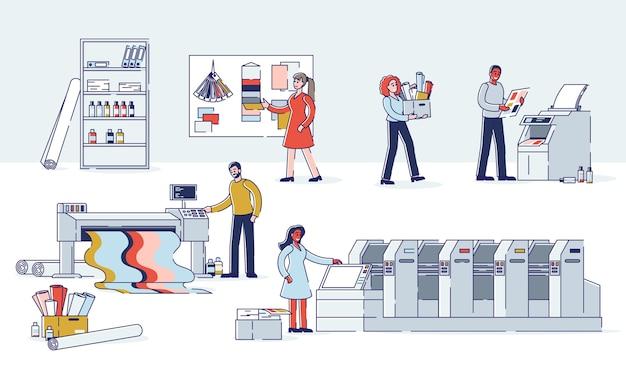 印刷およびポリグラフ業界のコンセプト印刷会社の製造プロセス