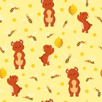 Print bee bear pattern
