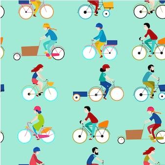 Print bicycle seamless pattern