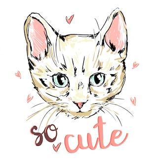 Печать кота, котенка, милый кот эскиз иллюстрации, печать дизайн кота, дети печать на футболке девушка. ручной обращается иллюстрации кошки.