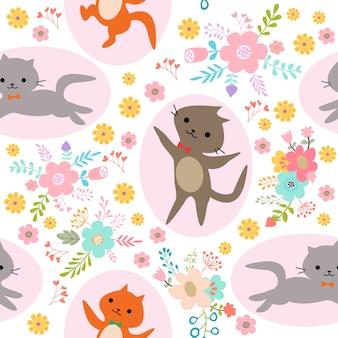 プリント猫シームレスパターン