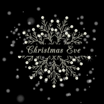 Print christmas eve snow-flakes holiday vector illustration