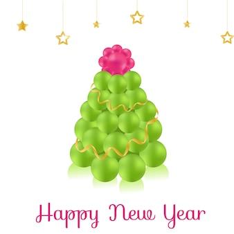 Print christmas tree of balls new year vector illustrations
