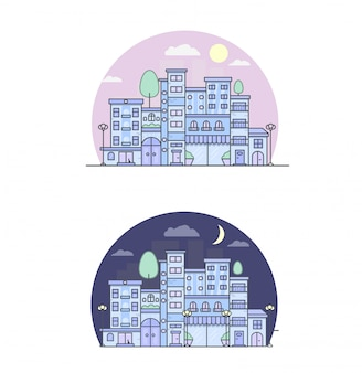 Print city street day and night vector illustration urban
