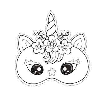 Print and color unicorn face mask for craft and diy birthday party
