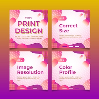 Print design tips on instagram posts set