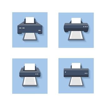 フラットに印刷します。オフィスの紙のプリンター、スキャナー、コピー機の色の看板。プリンターマシンデバイスのセット。図