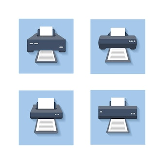 Print flat . office paper printer, scanner and photocopier colored signs. set of printer machine device.  illustration