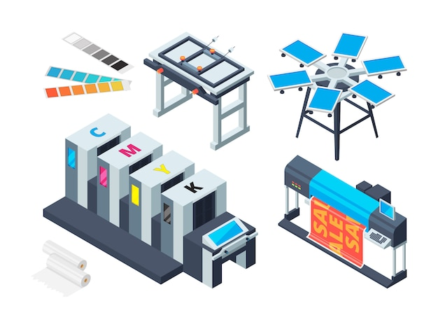 Print house machine. digital laser printer inkjet plotter various printing tools  isometric pictures