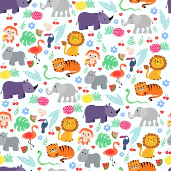 Print jungle animal white
