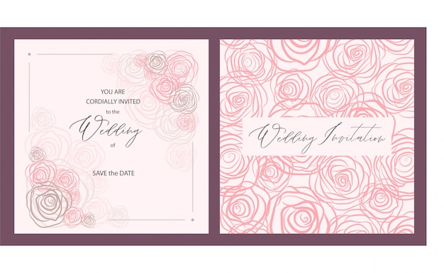 Print luxury wedding invitation card with pink roses