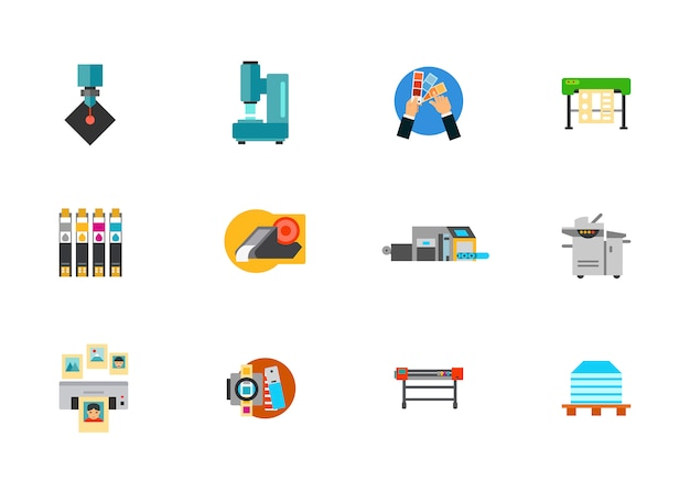 Print media production icon set