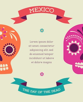 Print  mexican skull day of the dead