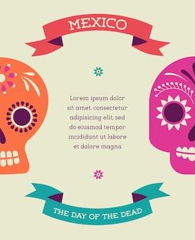 メキシコの頭蓋骨の死者の日を印刷する