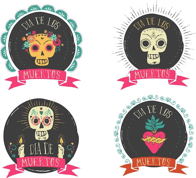 Print  mexican skull set day of the dead