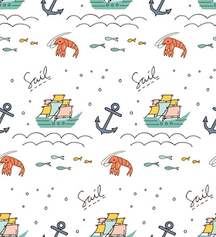 Print and pattern with sailboat, anchor, shrimp etc