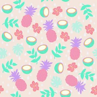 Print pineapple pattern vector