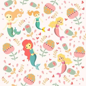 Print pink mermaid pattern