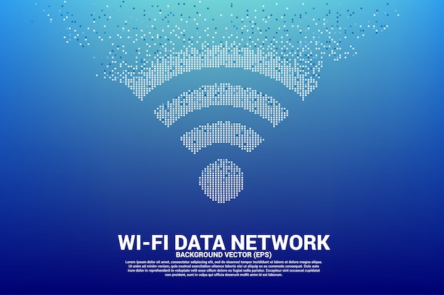 Print polygon wi-fi mobile data network icon from pixel.