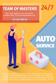 Print poster offers team of masters fulltime service. vector template with place for advertising text