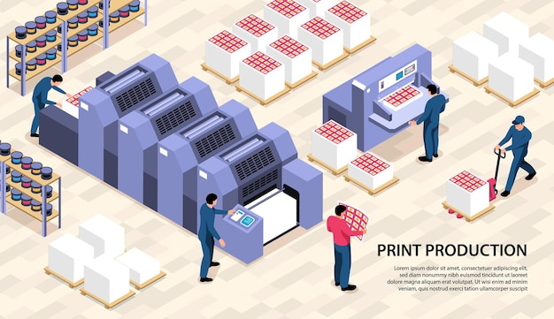 Print production isometric horizontal illustration with polygraph equipment printer consumables and worker characters