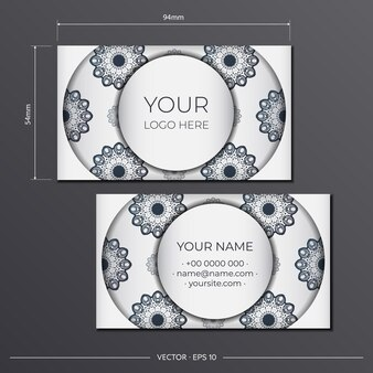블랙 빈티지 패턴이 있는 화이트 컬러의 인쇄용 명함 디자인. 그리스 장식으로 명함 템플릿입니다.