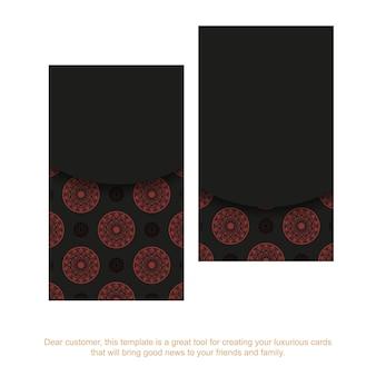 Готовый к печати дизайн визитной карточки с местом для текста и винтажными узорами. набор визиток черного цвета с красными орнаментами мандалы.