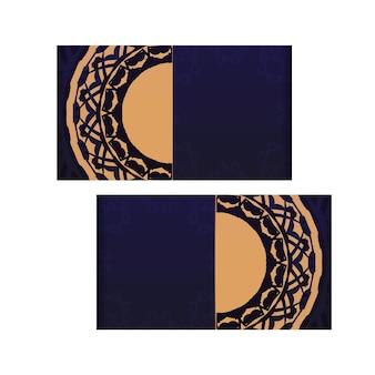 텍스트와 빈티지 패턴을 위한 공간이 있는 인쇄용 명함 디자인. 고급스러운 장식품과 함께 파란색으로 설정된 명함입니다.