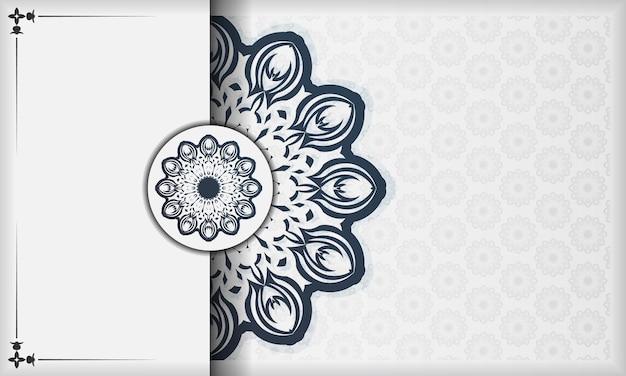 ヴィンテージパターンの印刷可能なデザインの背景。曼荼羅の装飾が施された白いバナーとテキストの下に配置します。