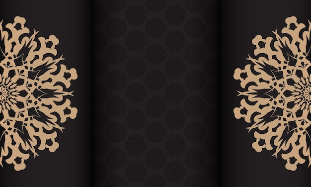 빈티지 패턴의 인쇄용 초대장 디자인. 고급스러운 장식품과 텍스트 장소가 있는 검은색 현수막.