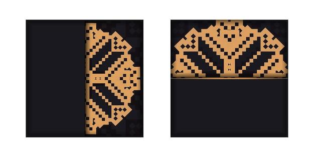 Готовый к печати дизайн открытки черного цвета со словенскими узорами. вектор шаблон приглашения карты с местом для текста и старинных украшений.