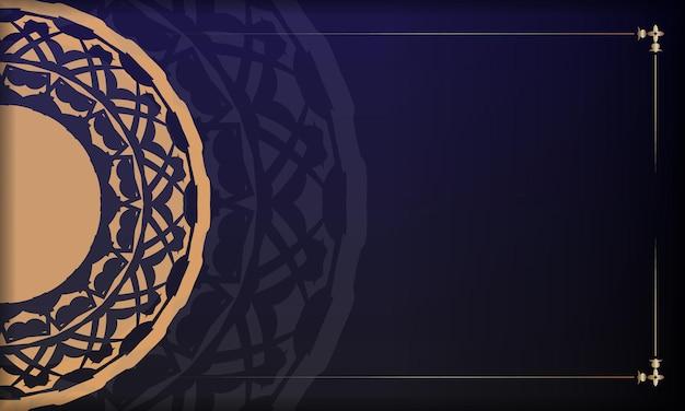ヴィンテージのオーナメントを使ったプリント対応のポストカードデザイン。豪華なヴィンテージの装飾品とあなたのテキストとロゴのための場所と青い背景。