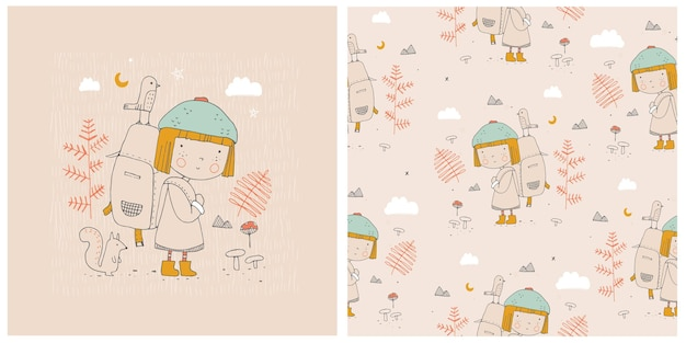 Print and seamless pattern with cute little girl in forest hand drawn vector illustration