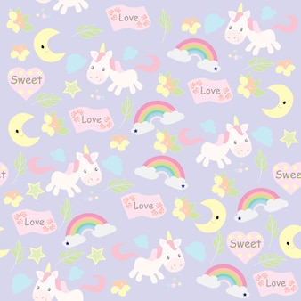 Print seamless unicorn