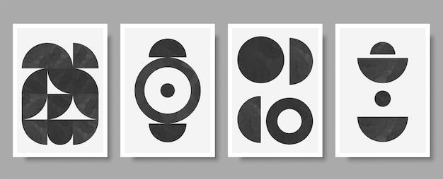 벽 장식에 이상적인 추상 흑백 구성의 인쇄 세트