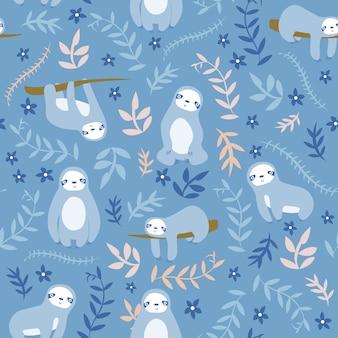 Print sloth blue