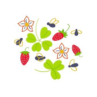 딸기 꽃 잎사귀 프린트 티셔츠