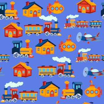 Print toy train seamless pattern