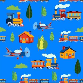 Print train seamless pattern