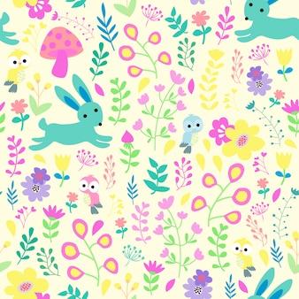 Print vector rabbit and bird